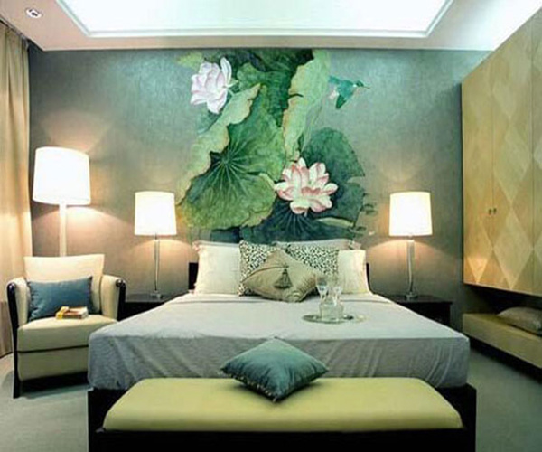 清新式的墙绘会让空间显得更加的简洁和富有层次感